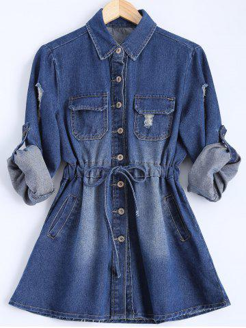 Store Button Down Denim Casual Shirt Dress BLUE XL