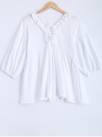 Discount Lantern Sleeve Lace Up Flounced Blouse