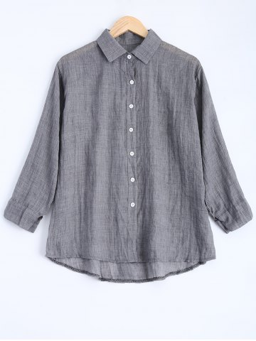 Affordable Button Down High Low Blouse