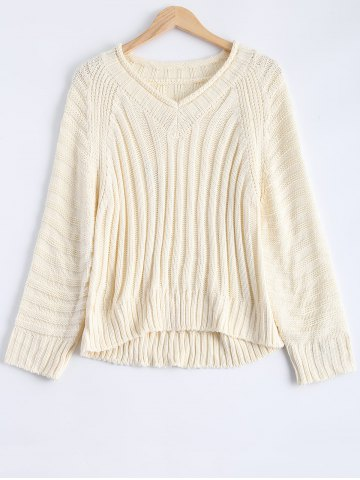 Store V Neck Raglan Sleeve Ribbed Pullover Sweater