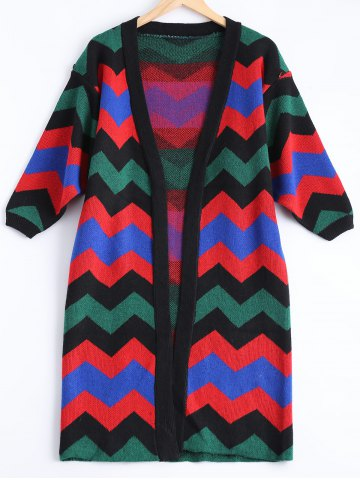 Store Zig Zag Long Sweater Cardigan