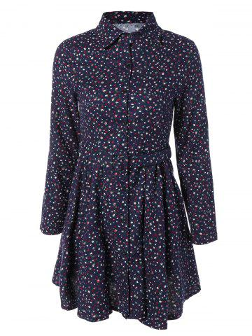Shop Tiny Floral Print Long Sleeve Shirt Dress
