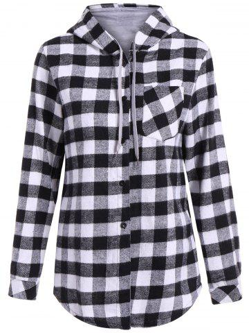 Store Casual Long Sleeve Hooded Plaid Check Shirt GRAY 2XL