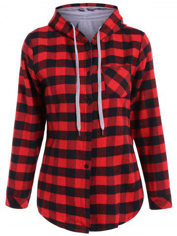 Outfits Casual Long Sleeve Hooded Plaid Check Shirt RED 2XL