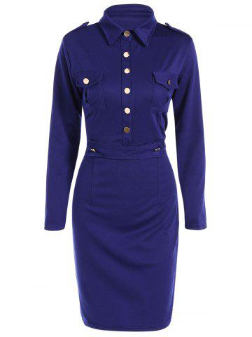 Chic Buttoned Long Sleeve Sheath Dress DEEP BLUE 2XL