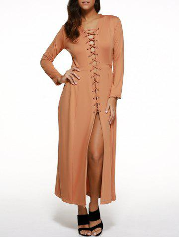 Shop Long Sleeve Lace-Up Maxi Dress