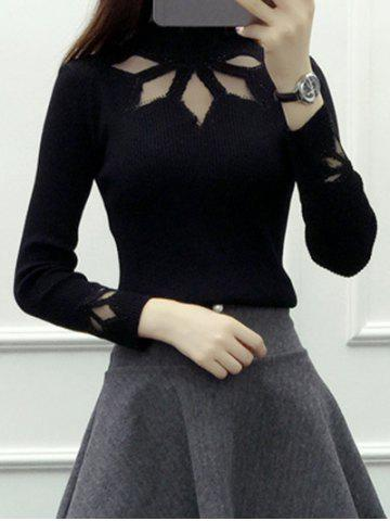 Cut Out Rhinestone Design Knitwear - Black - One Size
