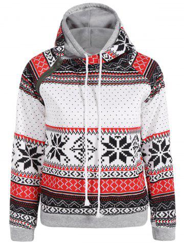 Double Hooded Snowflake Print Inclined Zipper Hoodie - WHITE XL