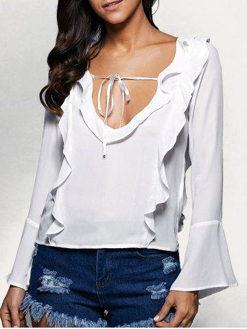 Sale Plunging Neck Flare Sleeve Flounced Blouse