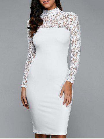 Unique Lace Insert Long Sleeve Pencil Dress