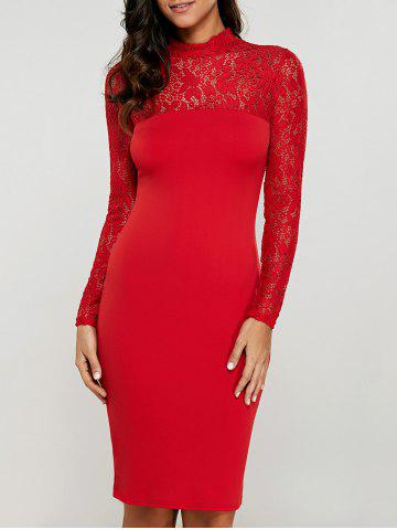 Store Lace Insert Long Sleeve Pencil Dress RED S