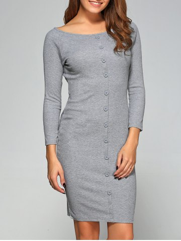 Affordable Button-Down Ribbed Bodycon Dress GRAY L