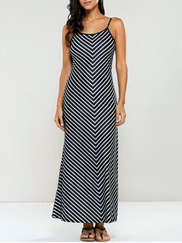 Chic Spaghetti Strap Striped Jersey Maxi Dress STRIPE L
