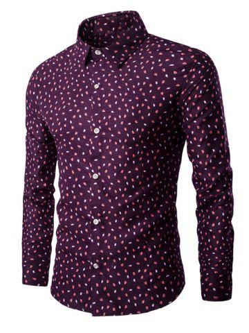 Trendy Long Sleeve Small Leaves Printed Shirt