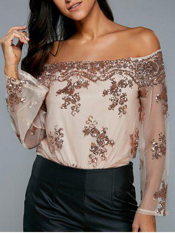 Off The Shoulder Sequin Embellished Bodysuit - APRICOT XL