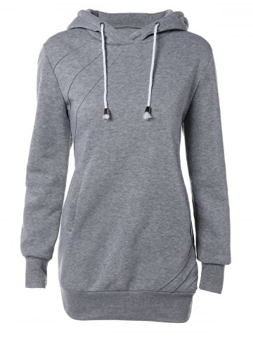 Affordable Pocket Design Drawstring Hoodie GRAY L