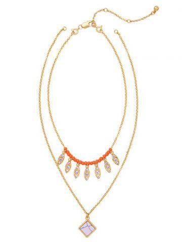 Shop Layered Natural Stone Beaded Leaf Necklace