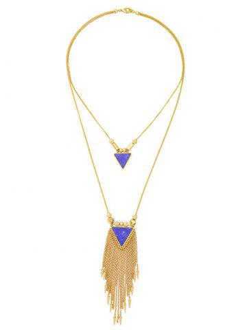 Unique Layered Triangle Faux Stone Fringe Necklace