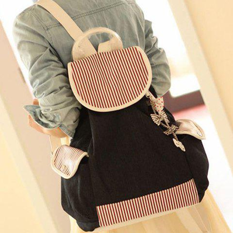 Preppy style Striped Drawstring Canvas Backpack