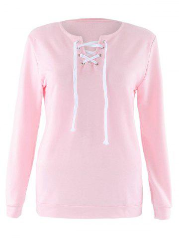 Chic Lace Up Long Sleeve Sweatshirt PINK S
