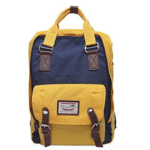 New Buckle Straps Nylon Color Block Backpack