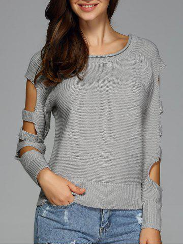 Cheap Cut Out Sleeve Knitted Sweater GRAY XL