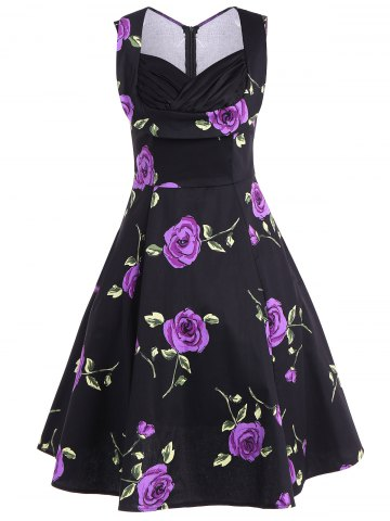 Unique Ruched Sweetheart Neck Floral Print Dress