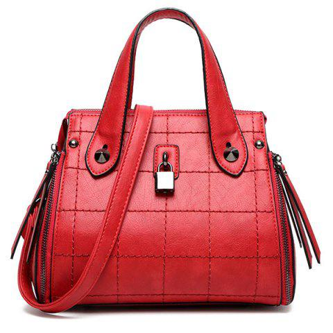 Discount Grid Stitching Lock Embellished Tote