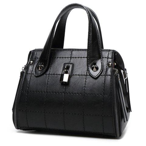 Affordable Grid Stitching Lock Embellished Tote