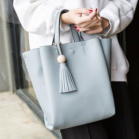 Online Tassel Winged Textured PU Leather Handbag