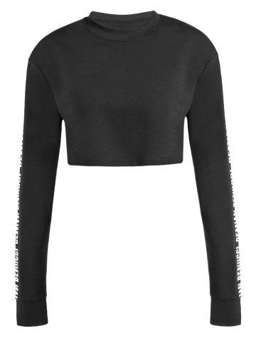 Cheap Crew Neck Cropped Sweatshirt BLACK ONE SIZE