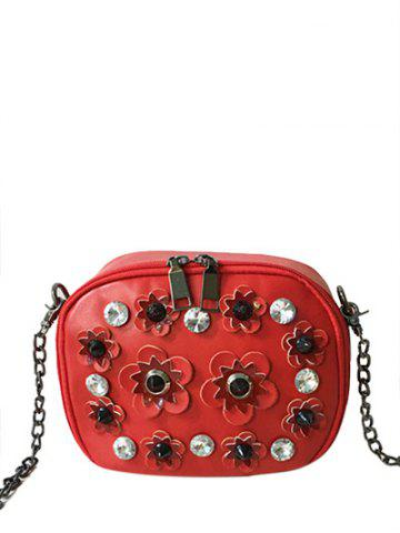 New Rhinestones Flowers Rivets Crossbody Bag