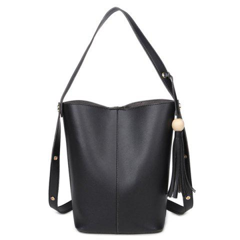 Online Bead Snap Closure Tassels Shoulder Bag BLACK