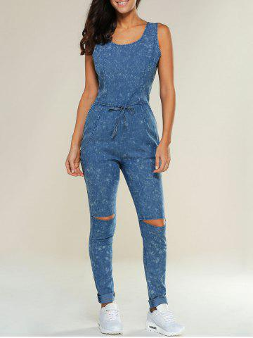 Affordable Drawstring Design Ripped Denim Jumpsuit