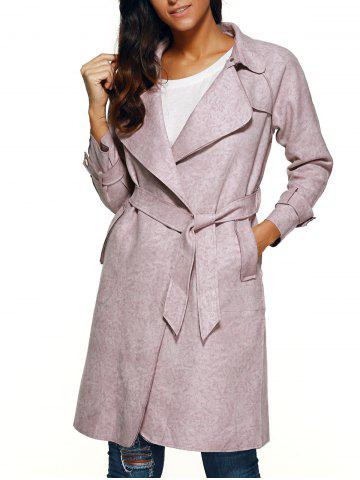 Discount Belted Faux Suede Wrap Coat