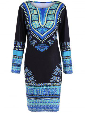 Fancy Skinny Long Sleeve Print Dress