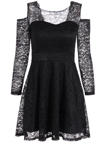 Chic Cold Shoulder See Through Long Sleeve Lace Skater Mini Dress BLACK ONE SIZE