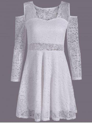 Latest See Through Cold Shoulder Lace Club Skater Dress