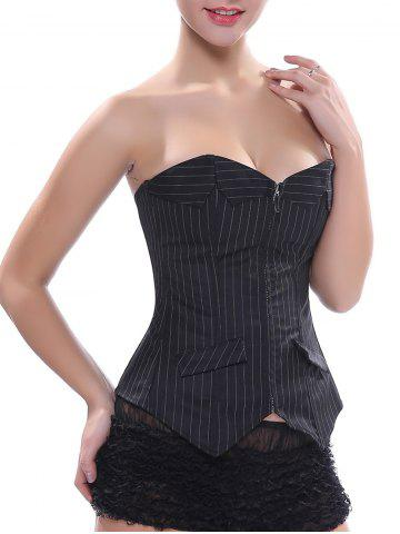 Shops Back Lace-Up Zippered Striped Corset Top