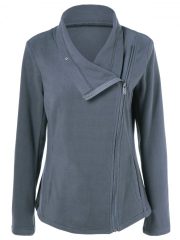 New Zipper Up Vertical Pockets Fleece Jacket