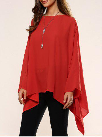 Affordable Slash Neck Asymmetrical Smock Blouse RED ONE SIZE