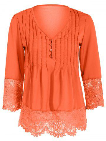 Hot Asymmetric Crochet-Trimmed Blouse ORANGE RED L