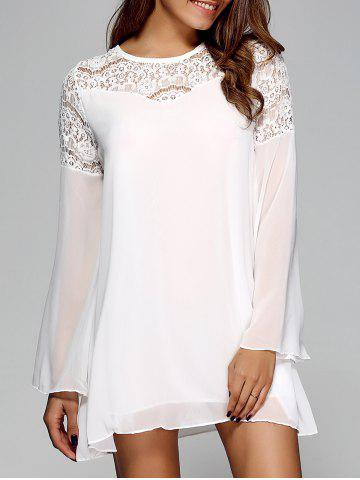 Affordable Openwork Bell Sleeve Chiffon Shift Dress WHITE XL