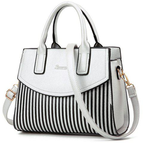 Latest Letter Embossed Striped PU Leather Handbag - SILVER  Mobile