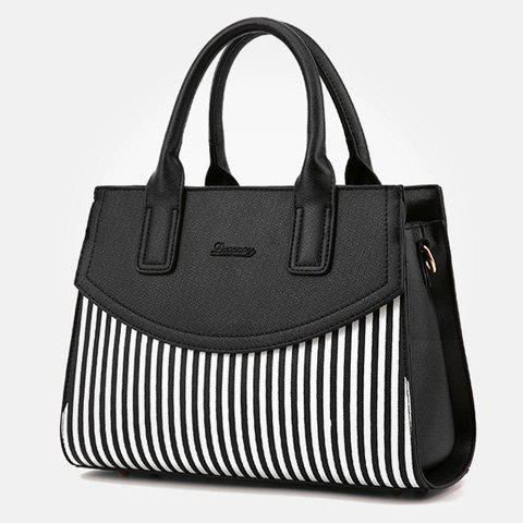 Outfit Letter Embossed Striped PU Leather Handbag - BLACK  Mobile