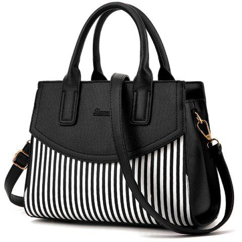 Fashion Letter Embossed Striped PU Leather Handbag BLACK
