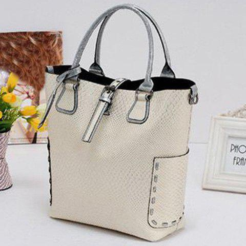 Chic Stitching Buckle Snake Embossed Tote - OFF-WHITE  Mobile