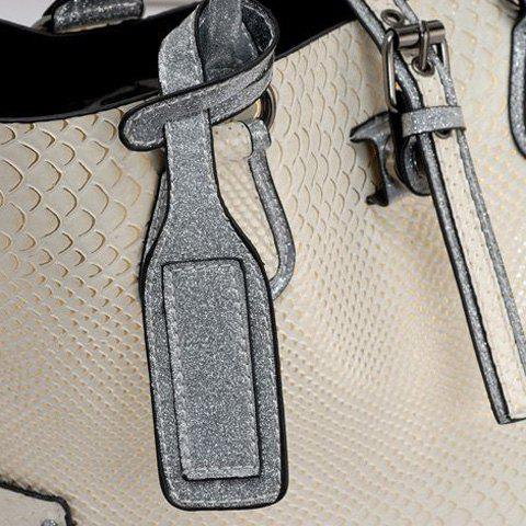 Hot Stitching Buckle Snake Embossed Tote - OFF-WHITE  Mobile