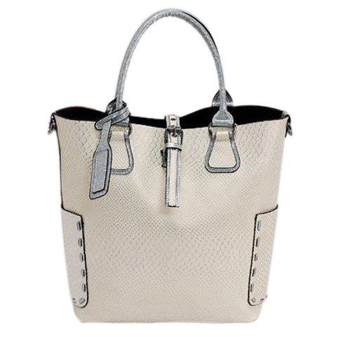 Shops Stitching Buckle Snake Embossed Tote