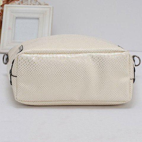 Shop Stitching Buckle Snake Embossed Tote - OFF-WHITE  Mobile